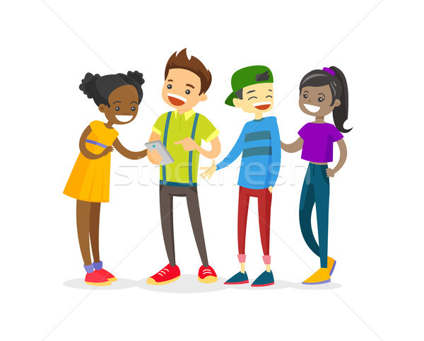 Multicultural group of teenagers looking at phone. Stock photo © RAStudio
