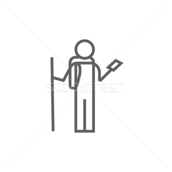 Turystycznych backpacker telefonu line ikona Zdjęcia stock © RAStudio