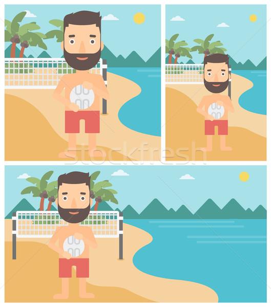 Plaży siatkówka gracz młodych sportowiec Zdjęcia stock © RAStudio