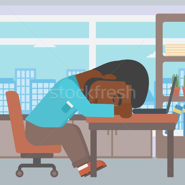 üzletember alszik munkahely fáradt laptop billentyűzet iroda Stock fotó © RAStudio