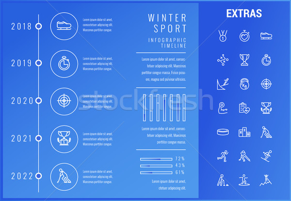 Téli sport infografika sablon elemek ikonok idővonal Stock fotó © RAStudio