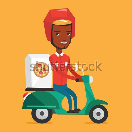 African-american woman delivering pizza on scooter Stock photo © RAStudio