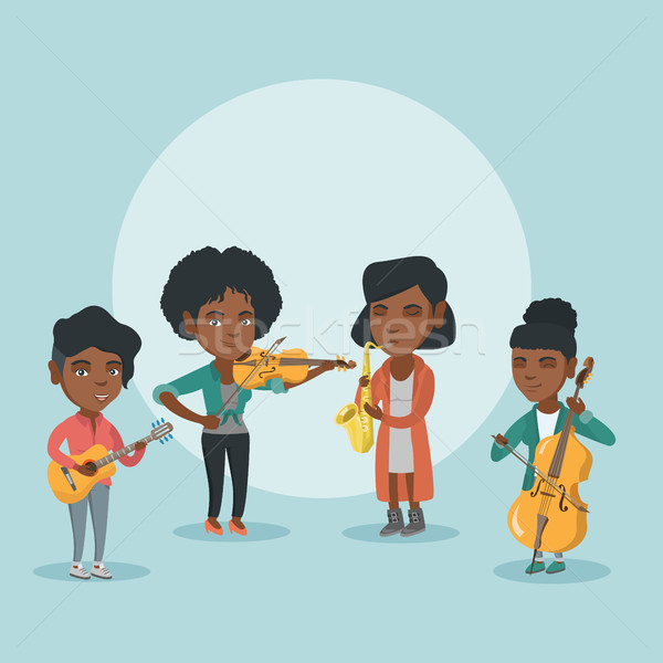 Bande musiciens jouer instruments de musique africaine groupe Photo stock © RAStudio
