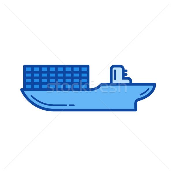 Сток-фото: грузовое · судно · линия · икона · вектора · изолированный · белый