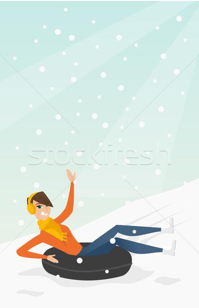 Lány hó gumi cső hegyek fiatal Stock fotó © RAStudio