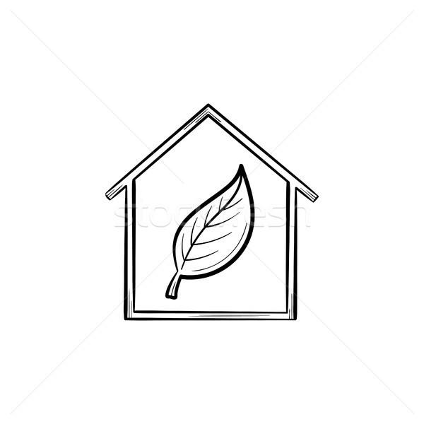 Ecology friendly house with leaf hand drawn icon. Stock photo © RAStudio