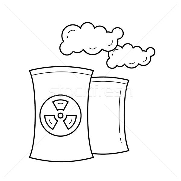 Nucléaire centrale vecteur ligne icône fumée Photo stock © RAStudio