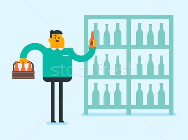 Genç kafkas beyaz adam alkol depolamak paketlemek Stok fotoğraf © RAStudio