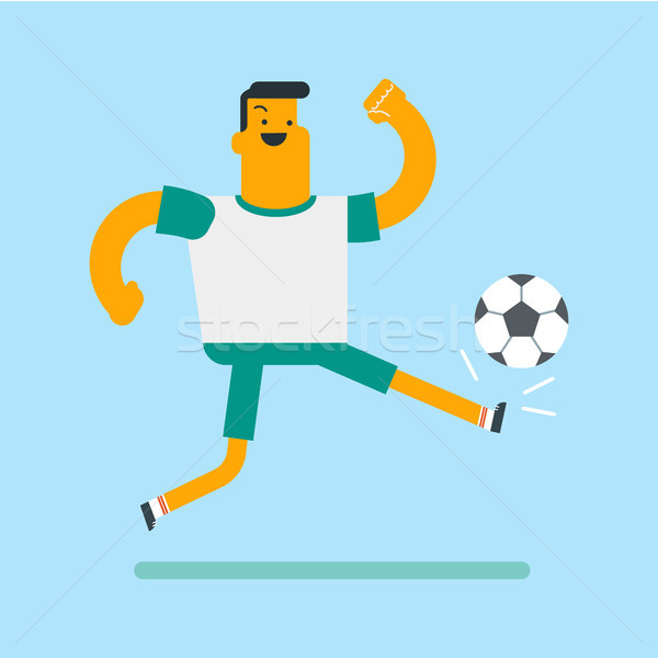 Caucasian white soccer player kicking the ball. Stock photo © RAStudio