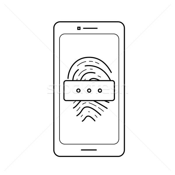 Parmak izi parola hat ikon vektör yalıtılmış Stok fotoğraf © RAStudio