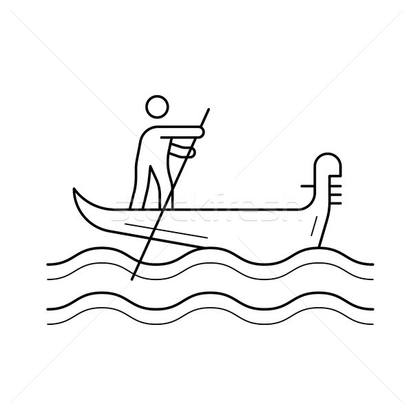 Velence gondola vonal ikon vektor izolált Stock fotó © RAStudio