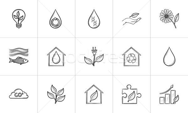 Stockfoto: Ecologie · schets · schets · doodle
