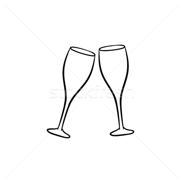 Champagne glasses hand drawn sketch icon. Stock photo © RAStudio
