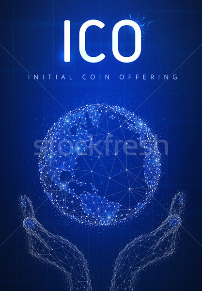 ICO initial coin offering futuristic hud banner with globe in ha Stock photo © RAStudio