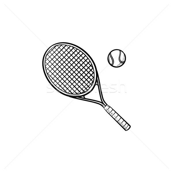 Teniszütő kézzel rajzolt skicc firka ikon teniszlabda Stock fotó © RAStudio