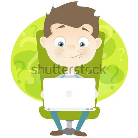 Aranyos tinédzser rajzfilmfigura izolált fehér vektor Stock fotó © RAStudio