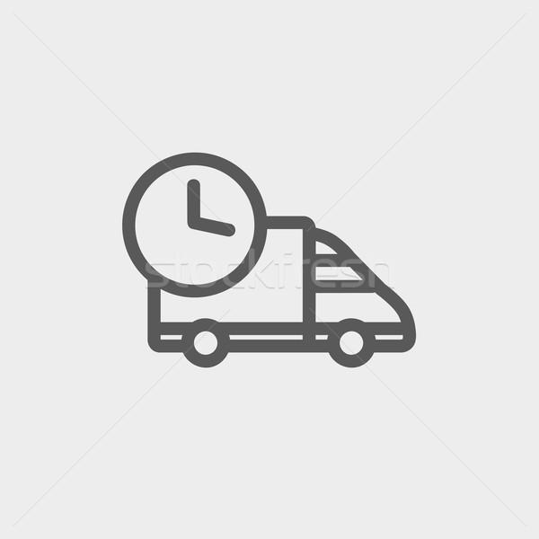 Idő házhozszállítás vékony vonal ikon háló Stock fotó © RAStudio