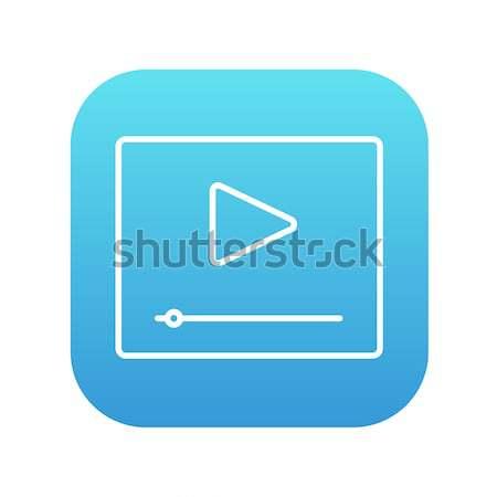 Play button with fast forward thin line icon Stock photo © RAStudio