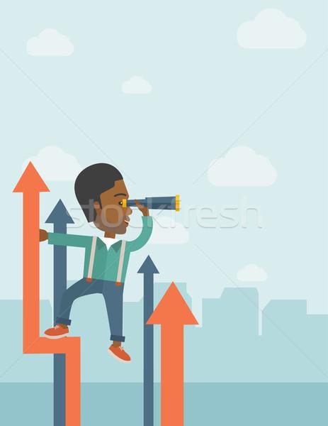 Stok fotoğraf: Başarılı · Afrika · işadamı · durmak · üst · grafik