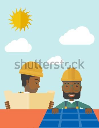 Afrikai férfi napelem tető alternatív energia Stock fotó © RAStudio