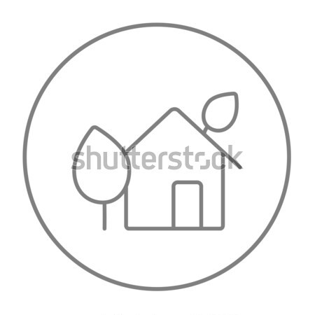 House with leaves thin line icon Stock photo © RAStudio