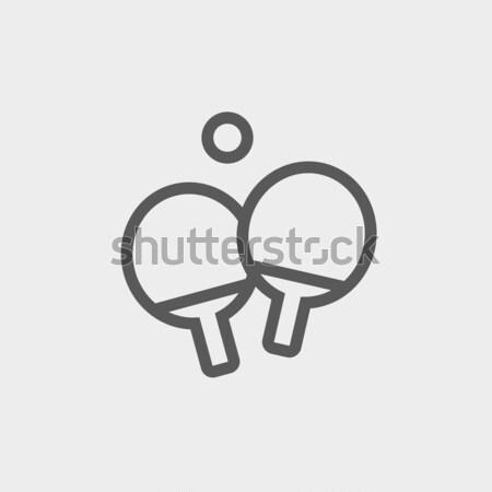 Kettő asztalitenisz ütő labda vékony vonal Stock fotó © RAStudio