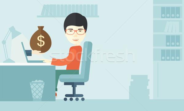 Japanese businessman with his laptop. Stock photo © RAStudio