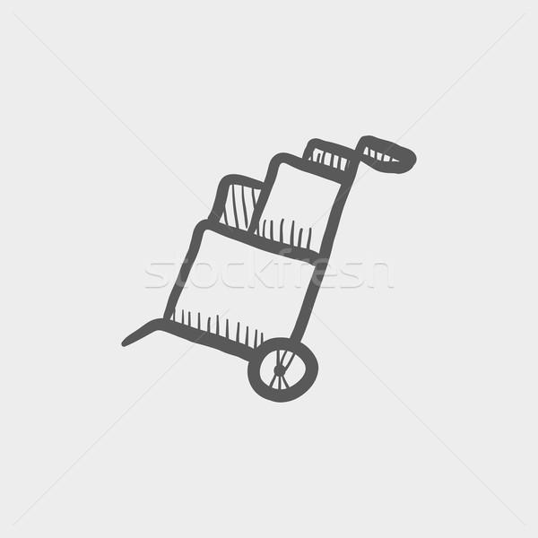 Trolley with boxes sketch icon Stock photo © RAStudio