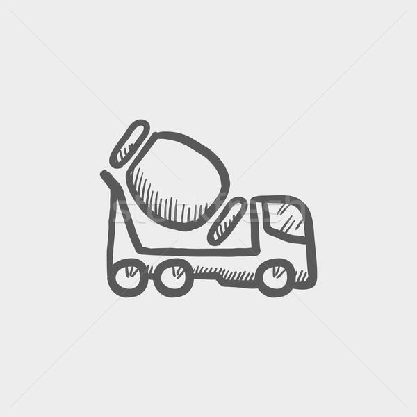 Beton mixer vrachtwagen schets icon web Stockfoto © RAStudio