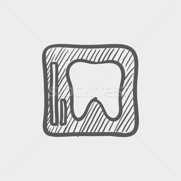 Tooth protected by a glass sketch icon Stock photo © RAStudio
