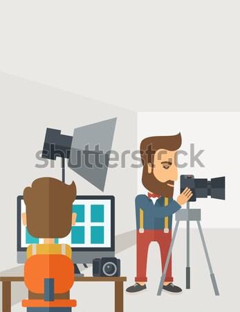 Photography studio with a light set up and white backdrop Stock photo © RAStudio