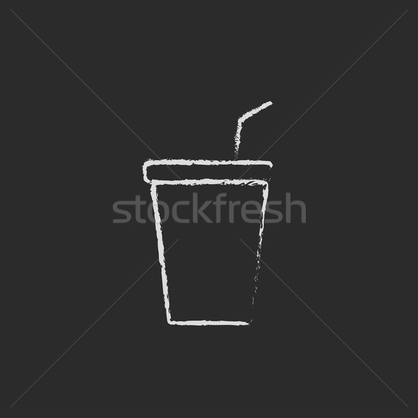 Disposable cup with lid and drinking straw icon drawn in chalk. Stock photo © RAStudio
