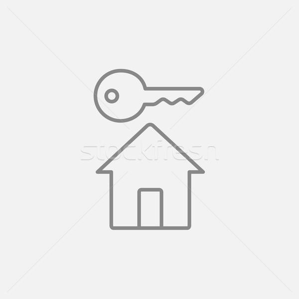 Сток-фото: ключевые · дома · линия · икона · веб · мобильных
