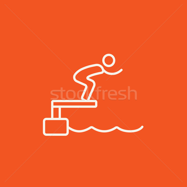 Nuotatore jumping piscina line icona web Foto d'archivio © RAStudio