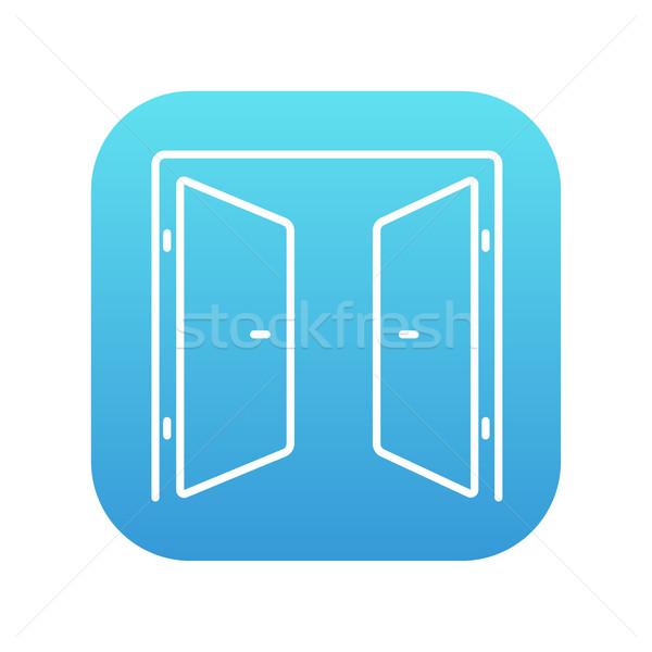 Stockfoto: Open · deuren · lijn · icon · web · mobiele