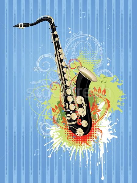 Saksofon soyut girdap Retro müzik konser Stok fotoğraf © RAStudio