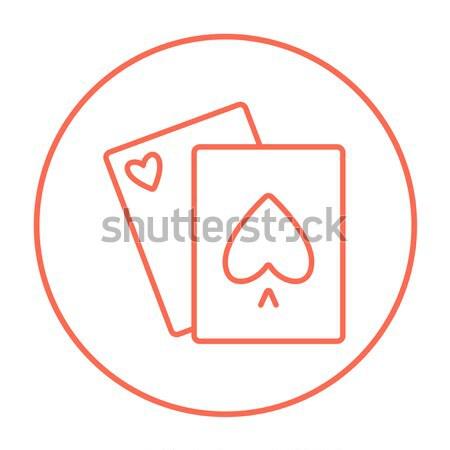 Speelkaarten lijn icon web mobiele infographics Stockfoto © RAStudio