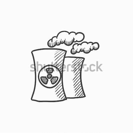 Nucléaire centrale ligne icône web mobiles Photo stock © RAStudio
