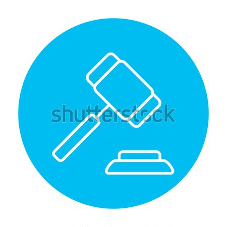 árverés kalapács vonal ikon háló mobil Stock fotó © RAStudio