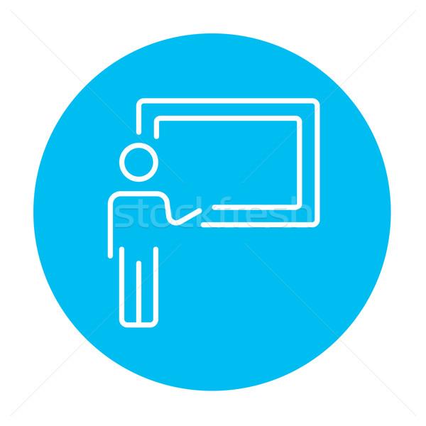 профессор указывая доске линия икона веб Сток-фото © RAStudio