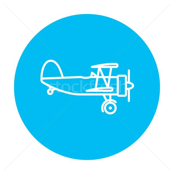 Propeller repülőgép vonal ikon háló mobil Stock fotó © RAStudio