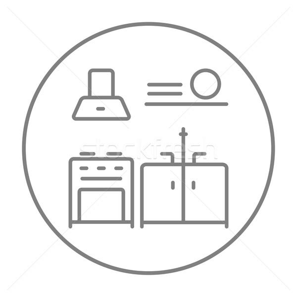 Keuken interieur lijn icon web mobiele infographics Stockfoto © RAStudio