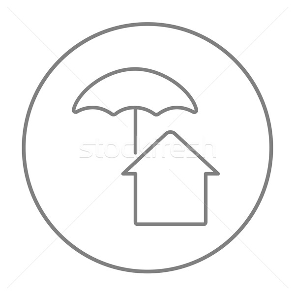 House under umbrella line icon. Stock photo © RAStudio