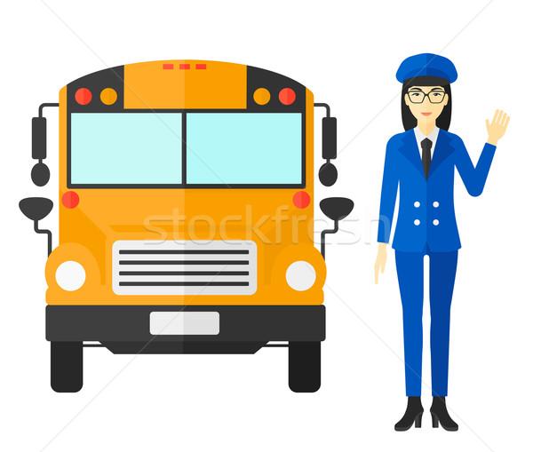 Iskolabusz sofőr ázsiai áll vektor terv Stock fotó © RAStudio