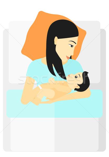 Kadın analık Asya yatak bebek Stok fotoğraf © RAStudio