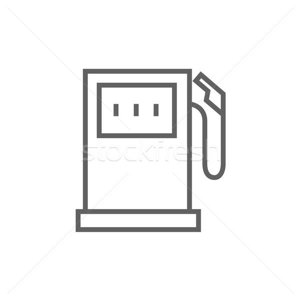Stacji benzynowej line ikona internetowych komórkowych Zdjęcia stock © RAStudio