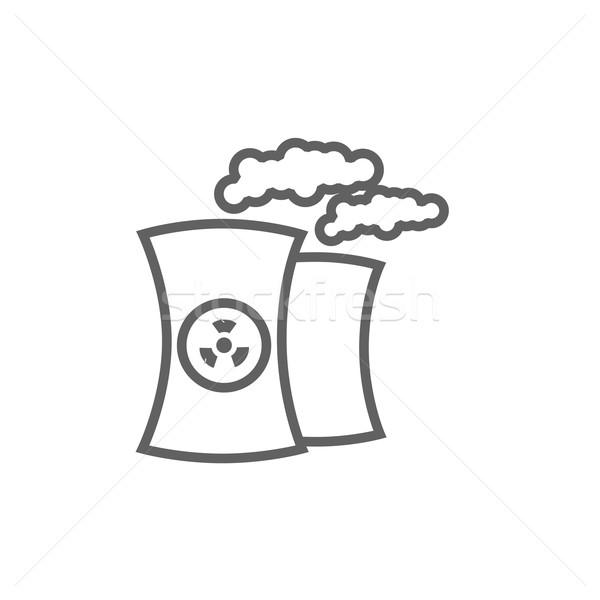 Jądrowej elektrownia line ikona internetowych komórkowych Zdjęcia stock © RAStudio