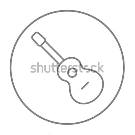 Akoestische gitaar lijn icon hoeken web mobiele Stockfoto © RAStudio