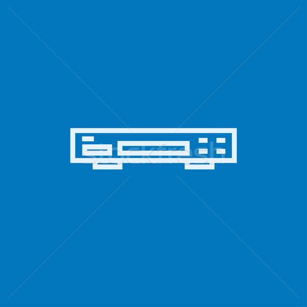 Videó furulya vonal ikon sarkok háló Stock fotó © RAStudio