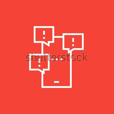 Stockfoto: Telefoon · berichten · lijn · icon · hoeken